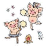 Vector illustration of a two little pigs playing tamburines. Royalty Free Stock Photos