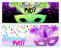 Vector illustration of two masquerade party flyer templates. With lettering typography text sign, green and purple carnival masks, colored confetti for poster vector illustration
