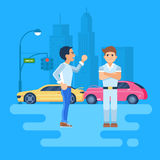 Vector illustration of two men arguing. Car accident on the background of the city. The cars are near a traffic light. The stubborn man does not want to listen Royalty Free Stock Image