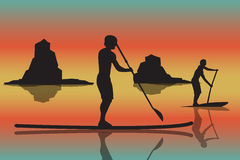 Vector illustration of two men with stand up paddle boards and p. Addles on the colorful sunset background with shadows as template for your design, article or Stock Image
