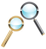 Vector illustration of two metal magnifiers Stock Image