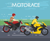 Vector illustration of two motorcyclists racing on motorace, competition, flat style Royalty Free Stock Photo