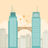 Cooperation. Vector illustration of two office tower buildings connected by a bridge Stock Photos