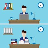 Vector illustration of two office workers in one office with different work - flat vector illustration
