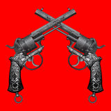 Vector illustration of two old guns. Two old guns with ornament on red background Stock Images