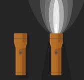 Vector illustration of two orange flashlights Stock Photography