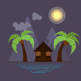 Vector illustration with two palms and bungalow on beach. Royalty Free Stock Images