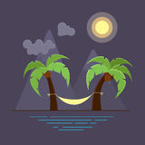 Vector illustration with two palms and hammock on beach. Royalty Free Stock Image