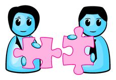 Two matching puzzle pieces. Vector illustration of two people with matching puzzle pieces royalty free illustration
