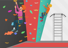 Vector illustration of two people training on rock-climbing wall. Stock Images