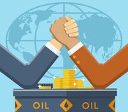 Leaders fight for oil market. Vector illustration of two powerful men who are fighting for world oil market Royalty Free Stock Images