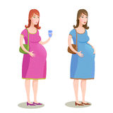 Vector illustration of two pregnant women in pink and blue dress. On white background Stock Images