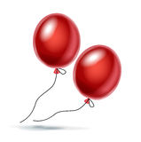 Vector illustration of two red balloon on white. Background Royalty Free Stock Image