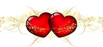 Two red hearts vector illustration