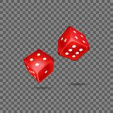 Red rolling dice. Vector illustration of two red rolling dice on the transparent background stock illustration