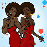 Vector illustration of a two singing woman Royalty Free Stock Photos