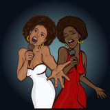 Vector illustration of a two singing woman Royalty Free Stock Images
