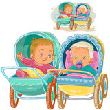 Vector illustration of two small baby lie in baby carriages and try to communicate Royalty Free Stock Image