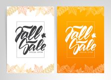 Two template of posters with hand lettering of Fall Sale. Vector illustration: Two template of posters with hand lettering of Fall Sale Royalty Free Stock Photography