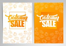 Vector illustration: Two vertical banner with handwritten lettering of Autumn Sale and hand drawn leaves. Vector illustration: Two vertical abstract template Stock Photography