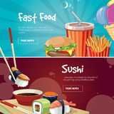 Vector illustration of two web banners with fast food pictures Royalty Free Stock Image