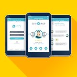 Vector illustration UI, UX, GUI concept mobile app design screens. Vector illustration set of three UI, UX, GUI concept mobile app design screens stock illustration