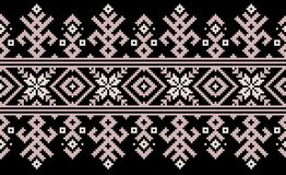 Vector illustration of Ukrainian folk seamless pattern ornament. Ethnic ornament. Border element. Traditional Ukrainian. Belarusian folk art knitted embroidery stock illustration
