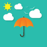 Vector illustration of umbrella, clouds, sun and birds Royalty Free Stock Image