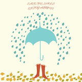 Vector illustration with umbrella and woman shoes Royalty Free Stock Photography