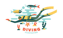 Vector illustration underwater diver surrounded fish. On white background Royalty Free Stock Photo