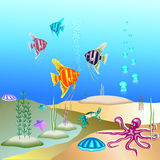 Vector illustration of the underwater world and its inhabitants. Royalty Free Stock Photos