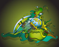 Vector illustration with underwater world Royalty Free Stock Photography