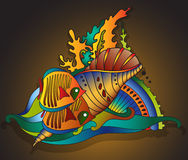 Vector illustration with underwater world Royalty Free Stock Images