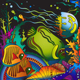 Vector illustration with underwater world of the tropical sea Royalty Free Stock Photo