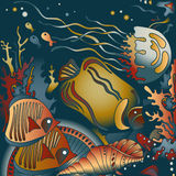 Vector illustration with underwater world Royalty Free Stock Photo