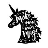Vector illustration of unicorn head silhouette with Make Your Own Magic phrase. Inspirational design for print, banner, poster, fashion vector illustration