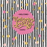 Vector illustration Unicorn Party hand drawn lettering, pink and golden circles, black stripes. Text copy template for party/birthday/invitation/flyers/cover vector illustration