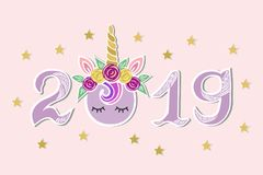 Vector Illustration with 2019, Unicorn Tiara and eyes as Happy New Year postcard. Party invitation, postcard motive, Merry Christmas card vector illustration