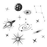 Vector illustration of universe. With galaxy,planets,stars,constellation on white background. Hand drawn style .Set of galactic objects Stock Photography