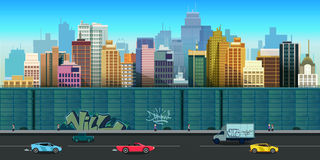 Vector illustration of urban buildings seamless background Stock Photo