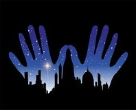 Vector illustration of urban metropolis on the palm of hands Stock Photos