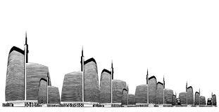 Vector illustration of urban skylines Stock Photography