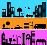 Vector illustration of urban street scene Royalty Free Stock Photos