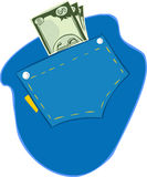Vector illustration of US dollars in the pocket of blue jeans Stock Photo