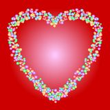 Heart shape pattern of colorful beads on red background. Love, romance, valentine, or wedding concepts. stock illustration