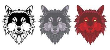 Set of wolf heads. stock illustration
