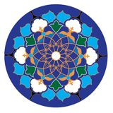 Uzbek traditional ornament in wight, blue, green and yellow colors stock illustration