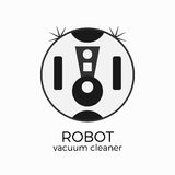 Vector illustration of vacuum cleaner. Domestic robot. Logo or icon in flat design. Grayscale colors and isolated object vector illustration