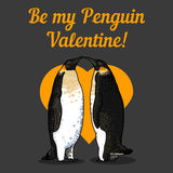 Vector illustration of valentine's card with penguins Stock Photography