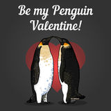 Vector illustration of valentine's card with penguins Royalty Free Stock Photos